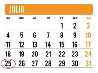 Imagen de un calendario con feriados marcados