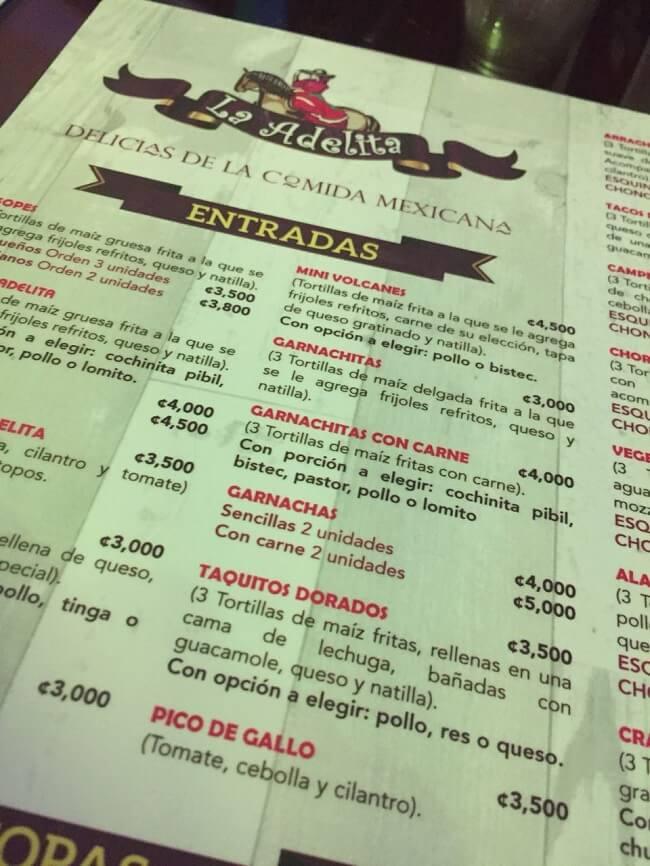 Foto de una página del menu de la Adelita en Santa Ana